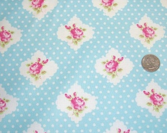 COUPON CODE SALE - Tanya Whelan, Darla, Rosie Dot, Blue, Free Spirit, 100% Cotton Quilt Fabric, Floral, Red Rose, Blue White