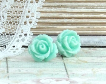 Light Turquoise Rose Earrings Rose Stud Earrings Seafoam Green Earrings Hypoallergenic Turquoise Rose Studs