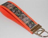 Camouflage on Orange  Key Fob Wristlet