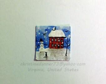 OOAK Tiny Miniature Dollhouse Art 3/4 x 3/4 inch Folk House, Snowman & Cat