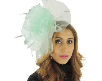 Feevah Mint Green Fascinator Hat for Kentucky Derby,Melbourne Cup, Ascot (other colours)