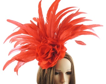 Red Gergana Large Fascinator Hat for Weddings, Races, and Special Events With Headband