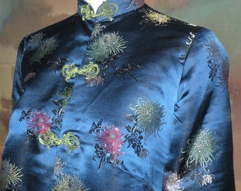 Japan Blue Silk Mum Print Jacket size S to M