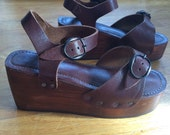Brown Leather and Wood Platform Sandal Shoes 90s size 7