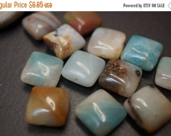 SUMMER SALE Natural Sky Blue Mixed Colors Canadian Genuine Untreated Amazonite Flat Square Puff Beads - 16mm - 8 pcs