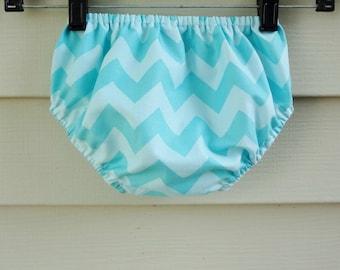 Bloomers 0-24 months Aqua Chevron Diaper Cover