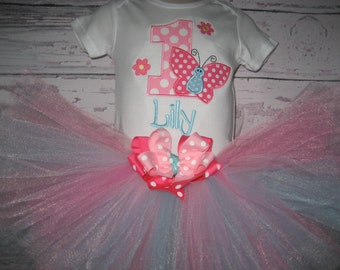Baby girl Birthday Butterfly tutu set, Butterfly birthday outfit, Butterfly outfit, Cake smash outfit, monogrammed tutu set