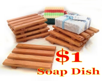 1 DOLLAR Soap Dish Special - 4 for 4 DOLLARS - natural red alder soap dishes - One DOLLAR each - handcrafted in America - Promo Offer
