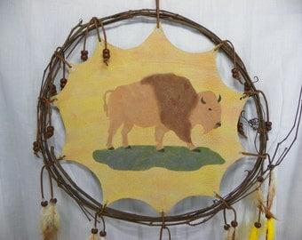 Vine Buffalo Mandala Hand Painted Native American Made