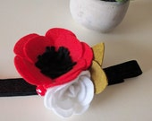 SALE | Anemone || Floral Headband || Red & White