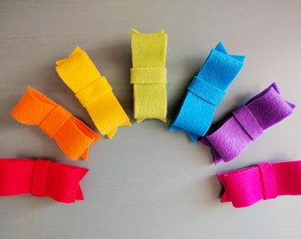 Felt Rainbow | Set of 7 Felt Bows
