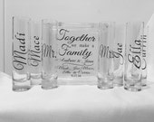 Family Blended Unity Sand Ceremony Glass Containers - Glass Block with Together we make a Family - Personalized - Side vessels Mr. Mrs.