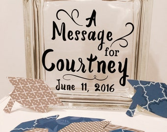 Reserved - Guest Book Alternative - Wish Jar - Custom with name and your choice of colors - graduation theme