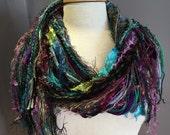 Fringie Scarf in Orchard, Knotted handmade Scarf, Purple green fringe scarf, Rustic Jewel, boho fashion, accessories, yarn scarf, boho, gift