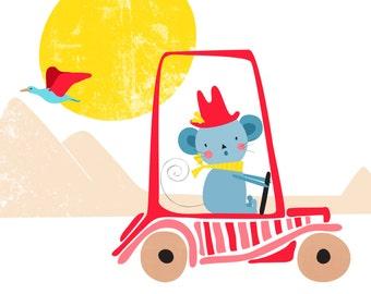 Car Nursery art print  -Drive- mouse Nursery Art, Cute mouse decor, mouse decor, baby nursery decor, nursery wall art