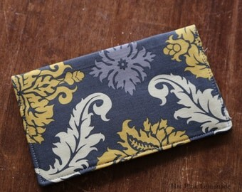 Cloth Checkbook Cover -Granite Demask -