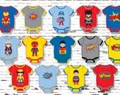 Superhero Cupcake Toppers, Superhero Baby, Superhero Onesies, INSTANT DOWNLOAD, DIY Superhero Baby Shower, Baby Onesie Stickers,Baby Onesies