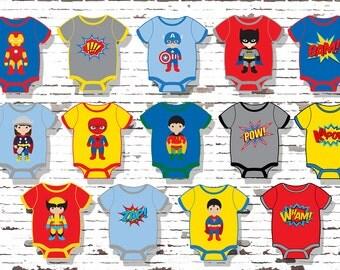Superhero Cupcake Toppers, Superhero Baby, Superhero Onesies,DIGITAL, YOU  PRINT, Superhero