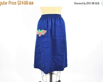 SUMMERS END SALE // 1970s skirt vintage 70s navy blue strawberry a line M/L
