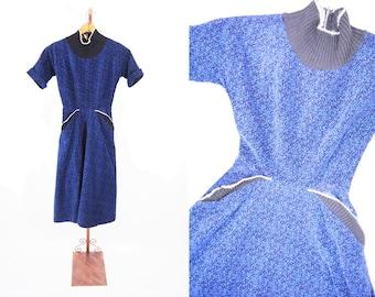 "1950s corduroy dress | blue black speckled corduroy batwing dress | vintage 50s dress | W 23"""