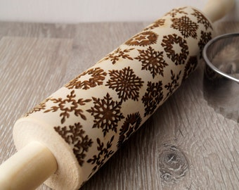 Snowflakes rolling pin, embossing rolling pin, Christmas themed embossing roller, cookies decorating rolling pin, Christmas icons roller