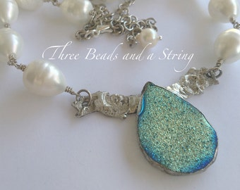 Handmade Soldered Druzy with wings pendant and Baroque Pearl Necklace