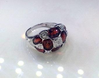 14K White Gold Genuine Red Garnet and Diamond Ring