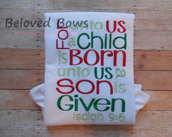 Christmas Ruffle Shirt or Infant Bodysuit--For Unto Us a Child Is Born--Holiday Shirt