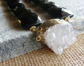 Big Bold Black Onyx and Druzy Statement Necklace