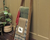 Primitive LADDER Country Dollhouse Miniature and Blankets Crow Design