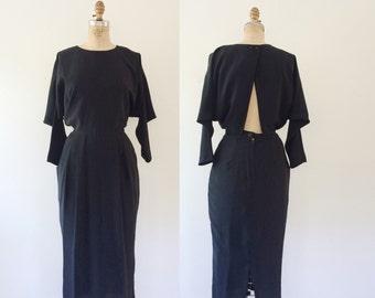 open back dress / 80s dress / Ponte Cross Shoulder dress