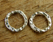 Textured Sterling Silver Circle Links - 12mm Round Sterling Links - Large Closed Jump Rings - One Pair - ltc12mm
