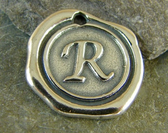 Sterling Silver Round Wax Seal Pendant - Letter R - Artisan Sterling Silver Monogram - Initial Pendant - Letter Charm - rws