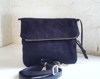 Best Seller Vegan Crossbody Bag in Black Faux Suede, Vegan Bag, Crossbody Bag in black