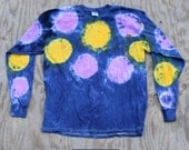Jellyfish Glow at Night - Spots&Dots Tie Dye Longsleeve T-shirt (Gildan Heavy Cotton Longsleeve Size L)(One of a Kind)