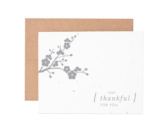 Boxed Cards - Cherry Blossom Thank You Seeded Letterpress Greeting Cards - Boxed Set | Thank You Cards | Plantable Cards | Thanks