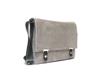 "11"" / 13"" MacBook Air / 12"" MacBook Pro messenger bag - dove gray herringbone"