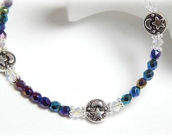 Anklet, Ankle Bracelet, Crystal Moon Anklet, Swarovski Crystal Moon and Stars Ankle Bracelet, Moon Anklet Silver Adjustable Anklet for Women