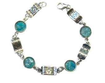 Blue Round Roman Glass Bracelet, Boho Chic Silver Bracelet, Roman Glass Floral Bracelet, Small Roman Glass Bracelet, Israel Jewelry Birthday