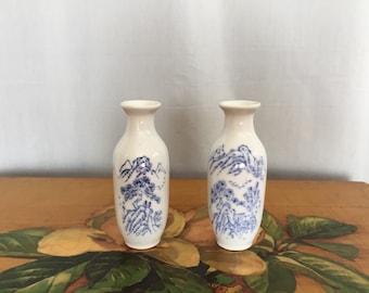 White Vases 2 Small Vase Set Vintage Blue Transferware Bud Vases