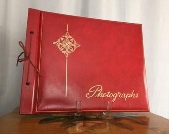 Photo Album Vintage Scrapbook Photographs Red Tie Black Pages Gold Script Cover