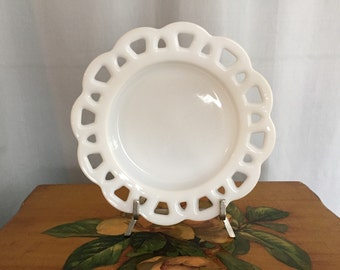 White Milkglass Plate Ruffle Scallop Vintage Milk Glass Replacement