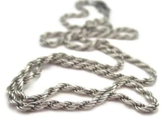 Sterling Silver Rope Chain Necklace Womens 16 Inch Vintage Italian Silver 1970s