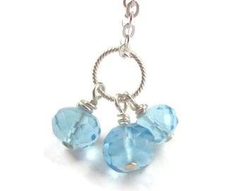 Blue Gemstone Cluster Necklace Charm Sterling Silver Blue Quartz Dainty Gemstone Pendant December Birthstone