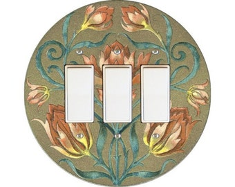 Victorian Floral Triple Decora Rocker Switch Plate Cover