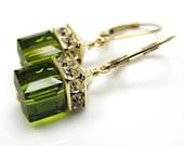 Gold Olive Earrings, Olive Green Swarovski Crystal Earrings, Cube Drop Earrings, Gold Filled Bridesmaid Earrings Autumn Wedding Jewelry Gift
