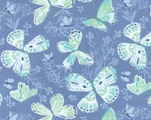 Water Blue Aria Fabric -  Moda - Kate Spain - 27230 26 - Butterflies and Flowers