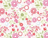 White Begonia Red Fabric -  Moda - Kate Spain - 27235 12 - Butterflies and Flowers