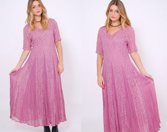 Vintage 80s Pink LACE Maxi Dress Short Sleeve Full Sweep Dress CRINKLE Pleated Dress