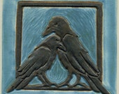 """Pair of Ravens 6"""" Ceramic Art Tile in Black and Blue Glaze"""